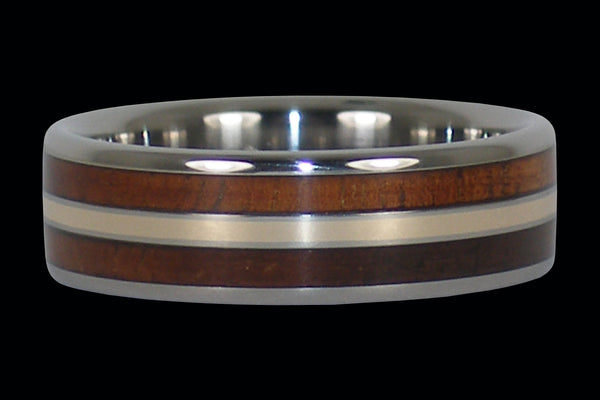 Koa and Gold Titanium Ring