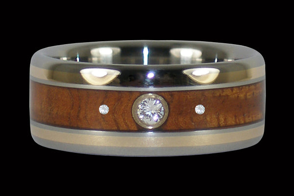 Redwood and Rose Gold Titanium Ring with Three Diamonds
