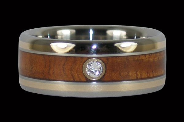 Tiger Koa Wood Diamond Hawaiian Wedding Ring
