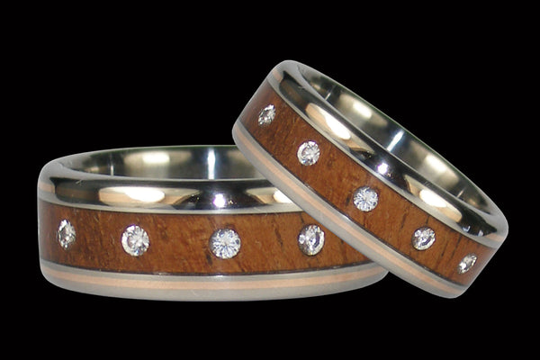 Diamond Titanium Ring Set with Koa and Gold