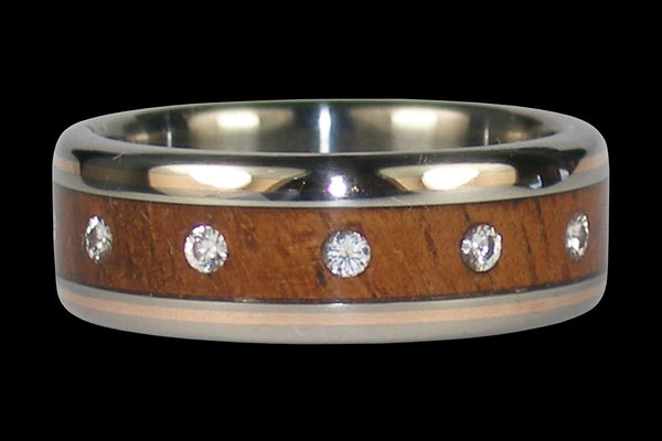 Gold Inlay Wood and Diamond Titanium Ring