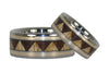 Gold Inlay Tribal Wood Titanium Rings - Hawaii Titanium Rings  - 2