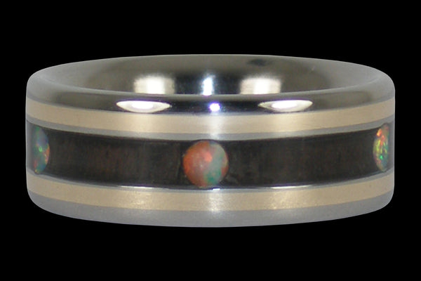 Gold and Opal Cabochon Wood Titanium Ring
