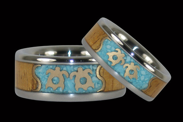 Turquoise and Koa Hawaii Titanium Ring® Set with Gold Turtles