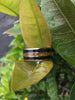 Gold Tigers Eye and Black Wood Titanium Ring