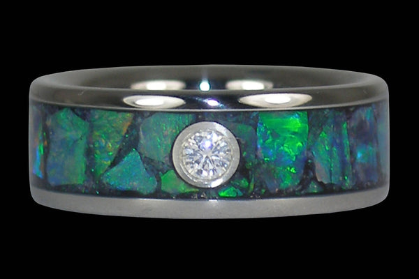 Green Opal Diamond Titanium Ring