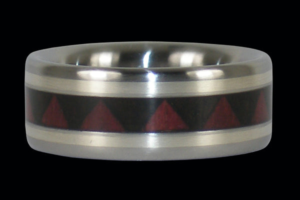 Tribal Design Titanium Ring with Silver Inlay