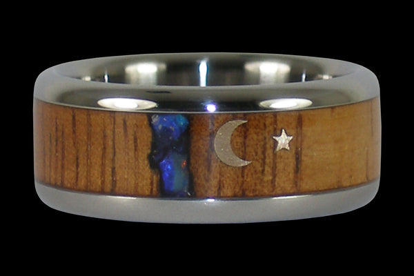 Gold Star Titanium Wood Ring with Blue Opal