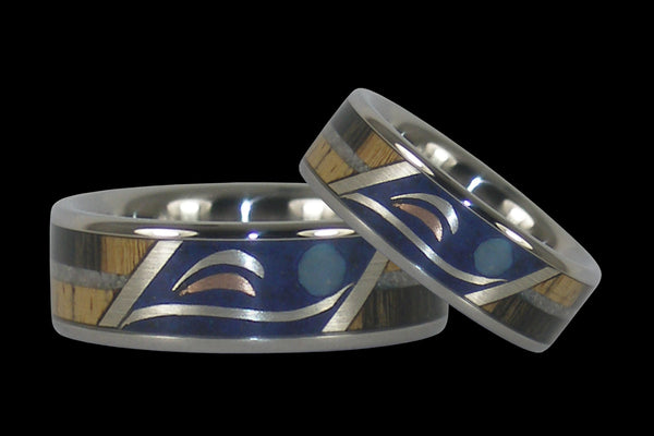 Dolphin Hawaii Titanium Rings® with Swimming Dolphins