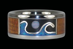 Stormy Ocean Full Moon Ring - Hawaii Titanium Rings