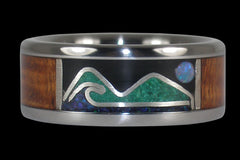 Hawaiian Ocean and Mountain Opal Ring - Hawaii Titanium Rings  - 1