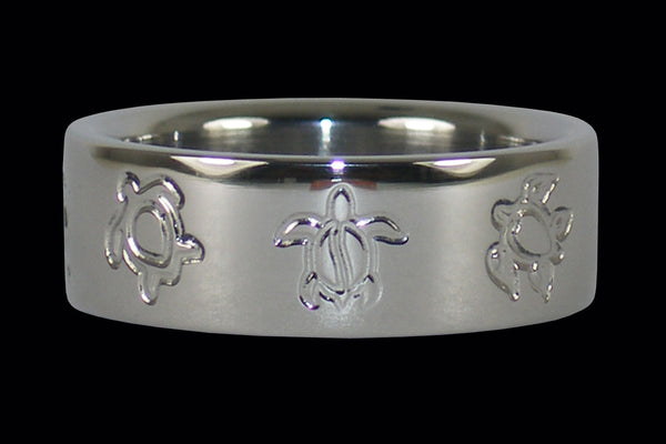 Turtle Engraving Titanium Ring Band