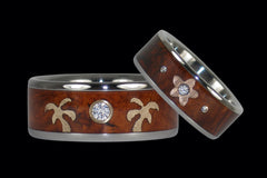 Hawaiian Island Prince and Princess Diamond Ring Set from Hawaii Titanium Rings®
