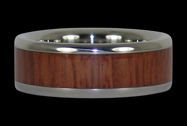 Jarrah Wood Inlay Titanium Ring Band