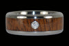 Diamond Titanium Wedding Band with Curly Koa - Hawaii Titanium Rings  - 3