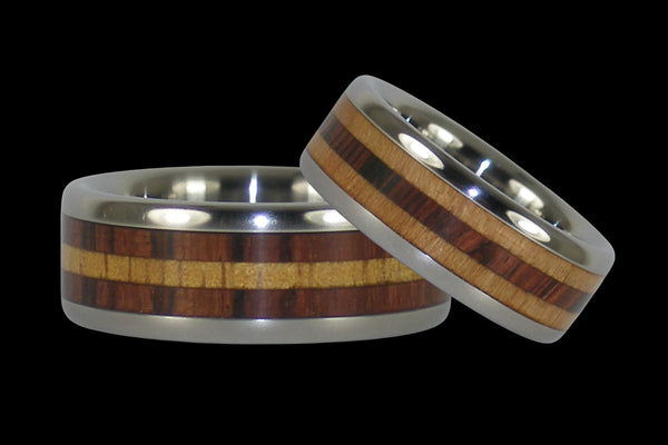 Kingwood and Koa Titanium Ring Set