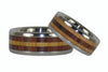 Kingwood and Koa Titanium Ring Set - Hawaii Titanium Rings  - 4