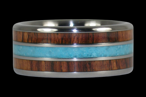 Blue Sleeping Beauty Turquoise and Kingwood Titanium Ring