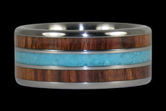Blue Sleeping Beauty Turquoise and Kingwood Titanium Ring - Hawaii Titanium Rings  - 1