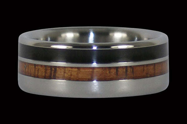 Light and Dark Wood Titanium Ring