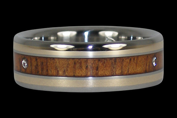 Triple Diamond Hawaiian Wood Titanium Ring