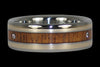 Triple Diamond Hawaiian Wood Titanium Ring - Hawaii Titanium Rings  - 1
