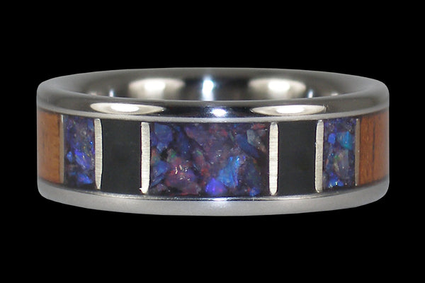 Black Lightning Ridge Opal Hawaii Titanium Ring®