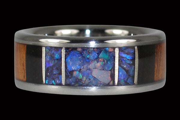 Titanium Black Opal Ring with Koa and Blackwood From Hawaii Titanium Rings®