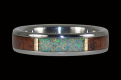 Thin Fire and Ice Opal with Koa Wood Ring - Hawaii Titanium Rings  - 1