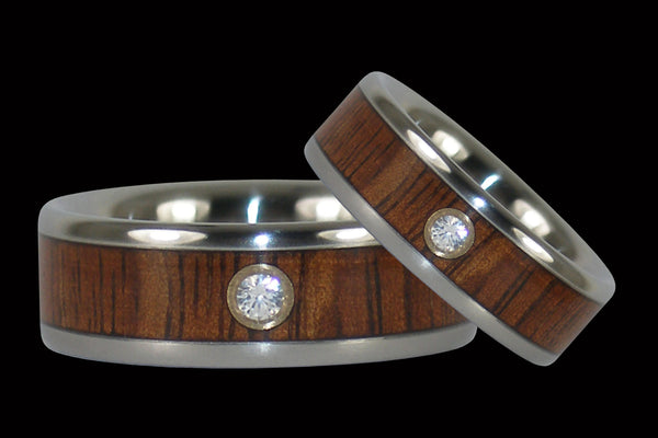Fire Koa Diamond Titanium Rings