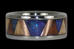 Tribal Wood and Opal Titanium Ring Band - Hawaii Titanium Rings  - 1