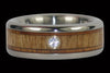 Diamond and Wood Titanium Wedding Ring Set - Hawaii Titanium Rings  - 5