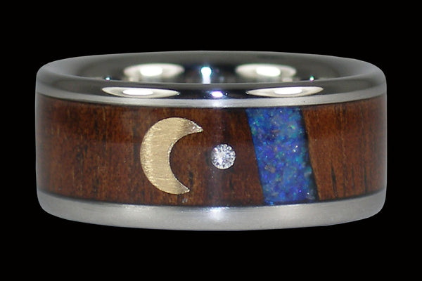 Blue Opal Diamond Hawaii Titanium Ring® with Crescent Moon