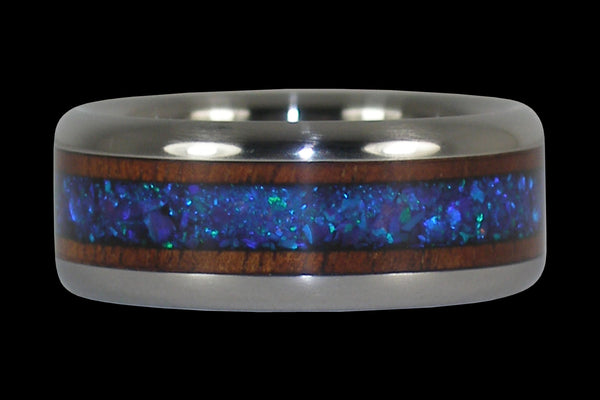 Blue Lab Opal and Dark Koa Titanium Ring