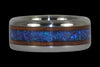 Blue Lab Opal and Dark Koa Titanium Ring - Hawaii Titanium Rings  - 1