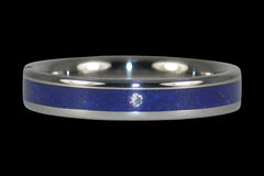 Small Lapis Diamond Engagement Ring - Hawaii Titanium Rings