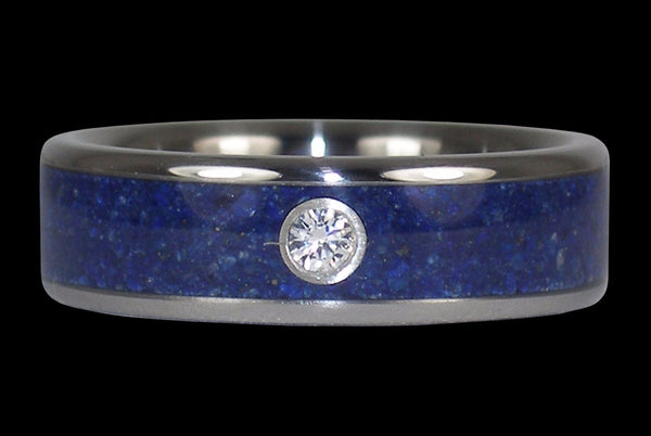 Lapis Diamond Titanium Ring Mens Wedding Band