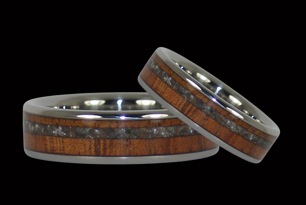 Koa and Black Pearl Titanium Rings Hawaii Titanium Rings