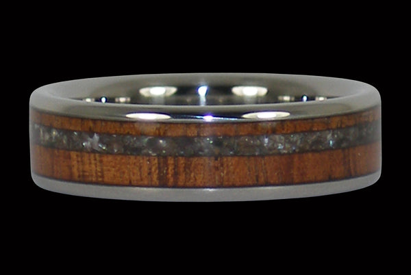 Black Pearl and Koa Wood Inlay Ring