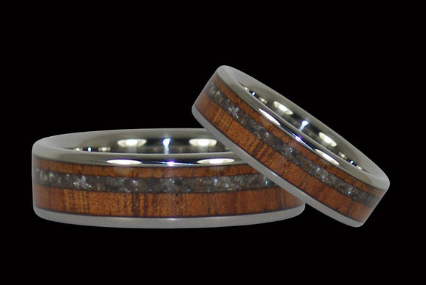 Black Pearl and Koa Titanium Rings