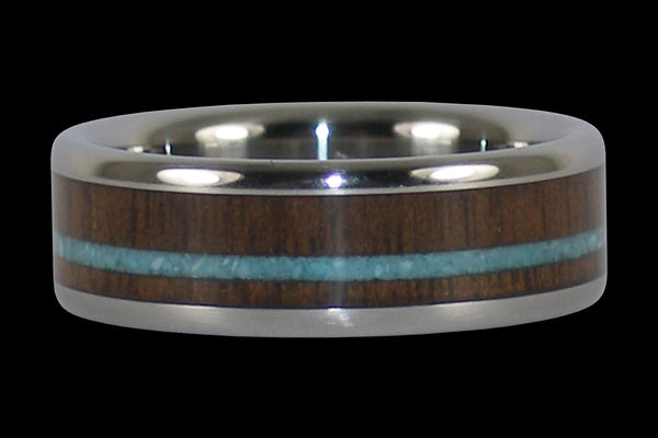 Walnut and Turquoise Titanium Ring