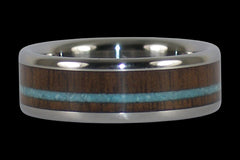 Walnut and Turquoise Titanium Ring - Hawaii Titanium Rings