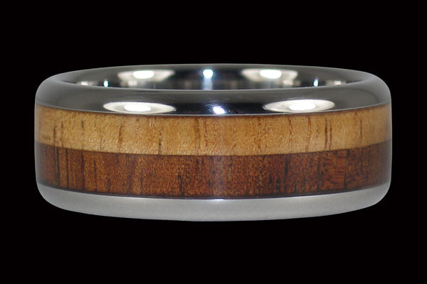 Light and Dark Koa Wood Hawaii Titanium Ring®