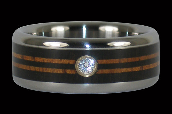 Diamond Titanium Rings with Longboard Design