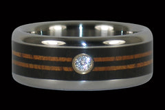 Diamond Titanium Rings with Longboard Design - Hawaii Titanium Rings
