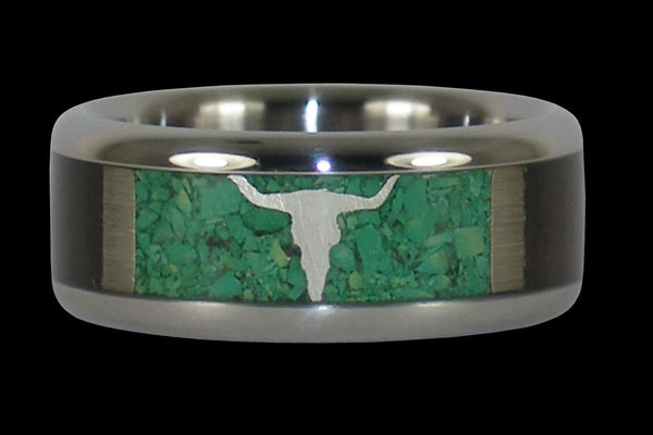 Rodeo Titanium Ring with Gold Longhorn