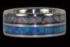 Blue and Red Opal Inlay Titanium Ring - Hawaii Titanium Rings  - 2