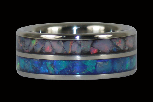 Blue and Red Opal Inlay Titanium Ring