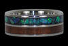 Blue and Green Opal Titanium Ring with Dark Koa Wood - Hawaii Titanium Rings  - 1