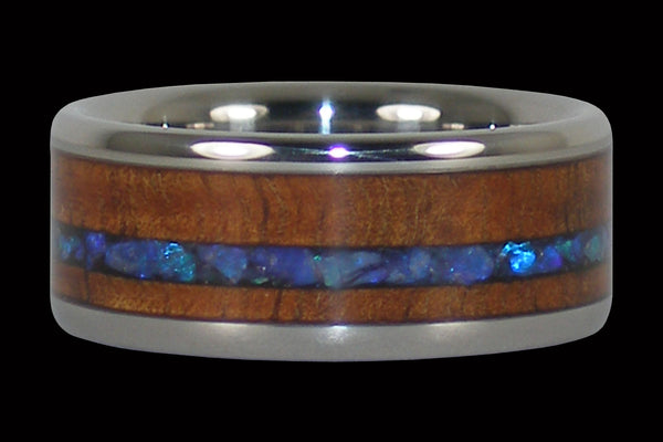 Australian Opal Wood Inlay Titanium Ring Band